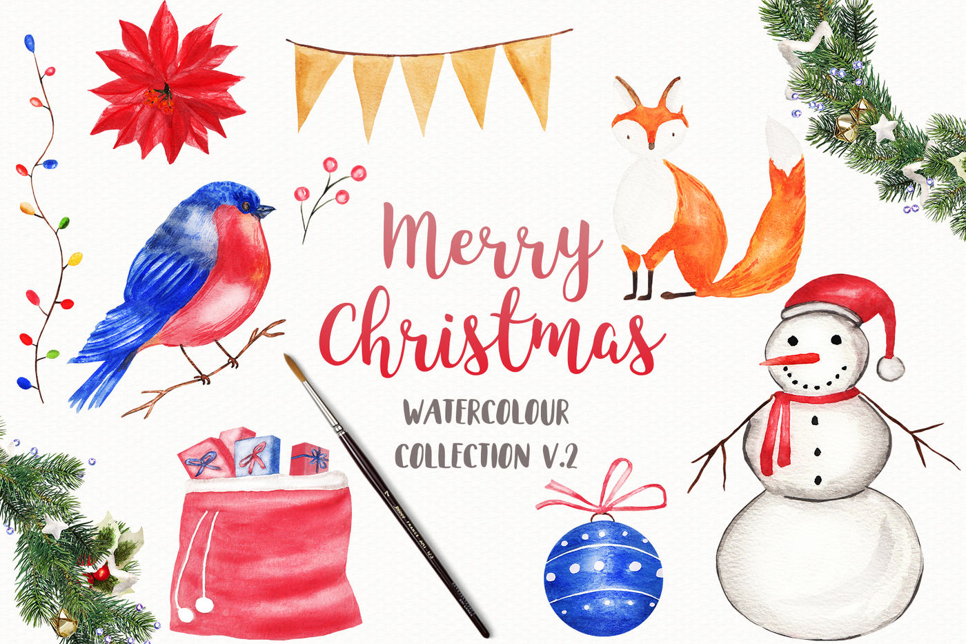 Watercolor Christmas Clipart Merry Christmas Clipart By