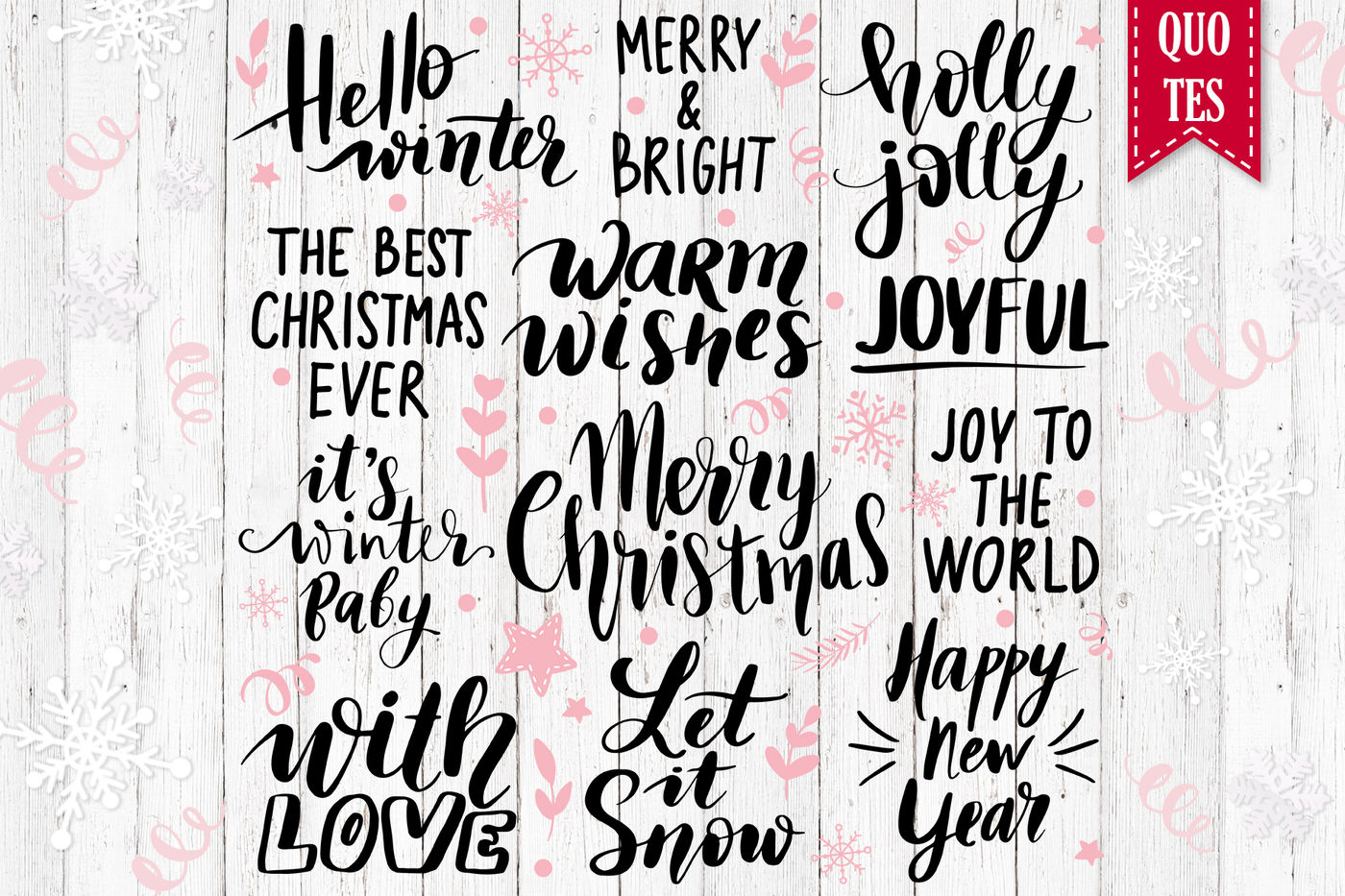 Christmas Cards Quotes Patterns By Kvitka Thehungryjpeg Com