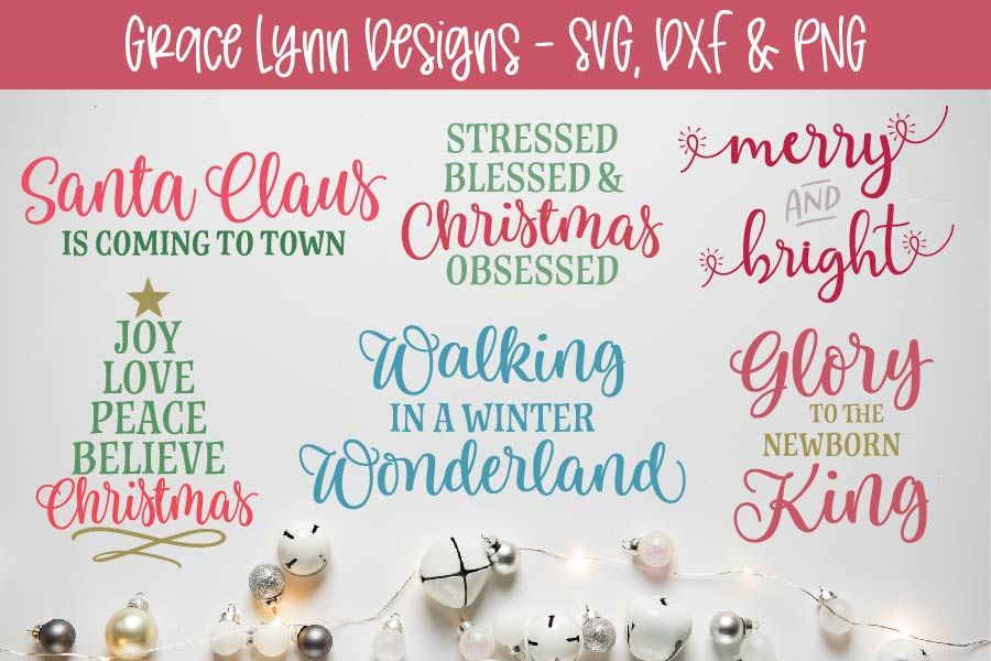 Christmas Cut File Bundle Svg Dxf Png By Grace Lynn Designs Thehungryjpeg Com