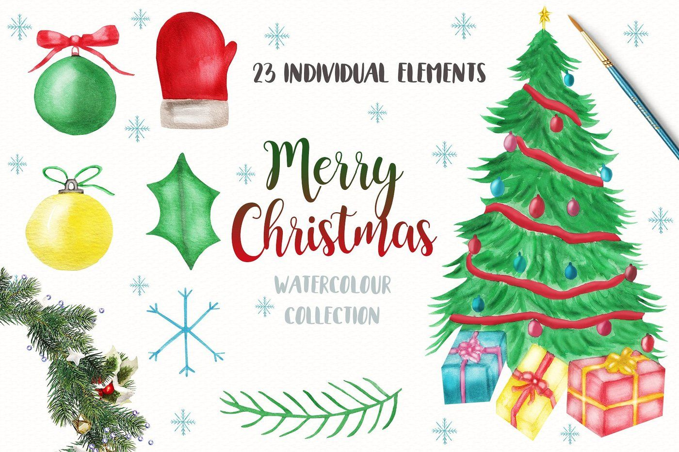 Watercolor Christmsa Clipart Merry Christmas Clipart By