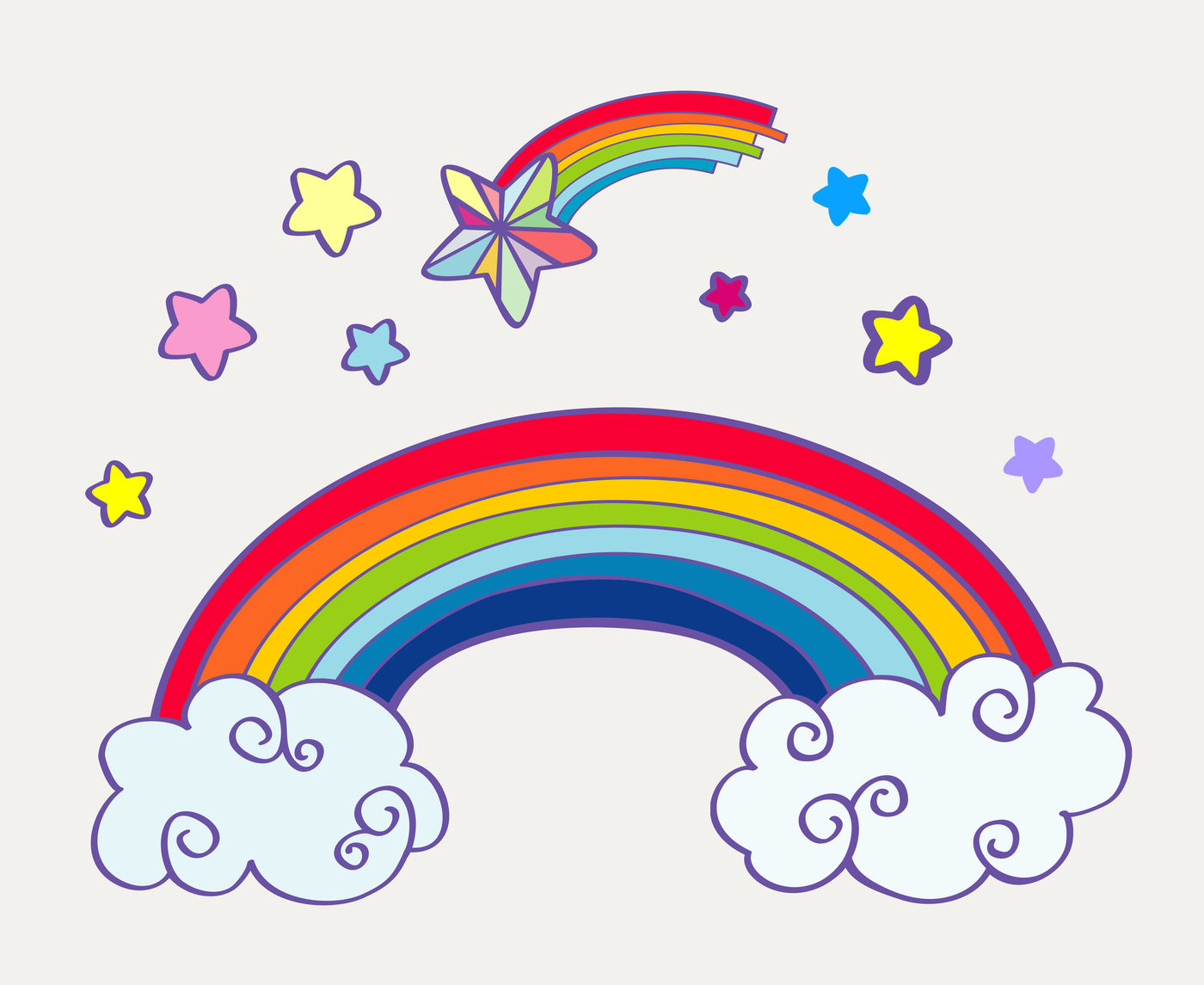 Hand Drawn Cartoon Rainbow Clouds And Falling Stars By