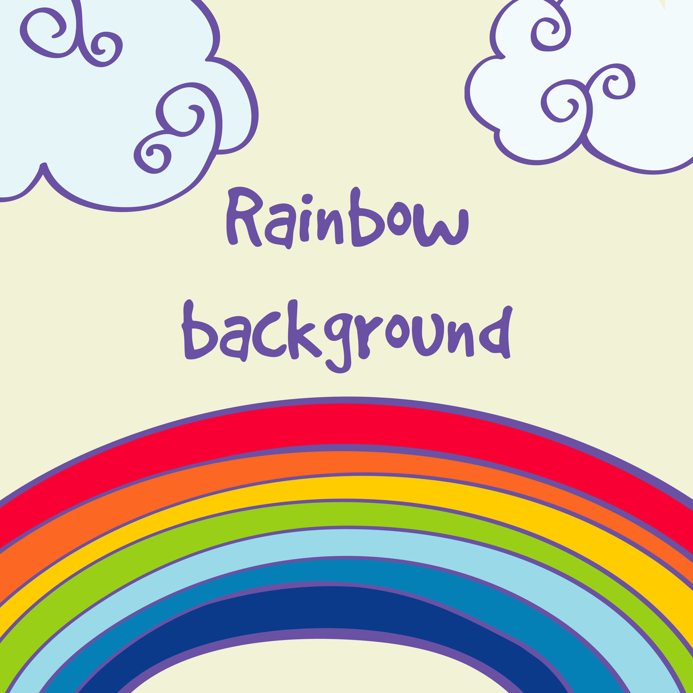 Vector Hand Drawn Rainbow And Clouds Good Weather Background By