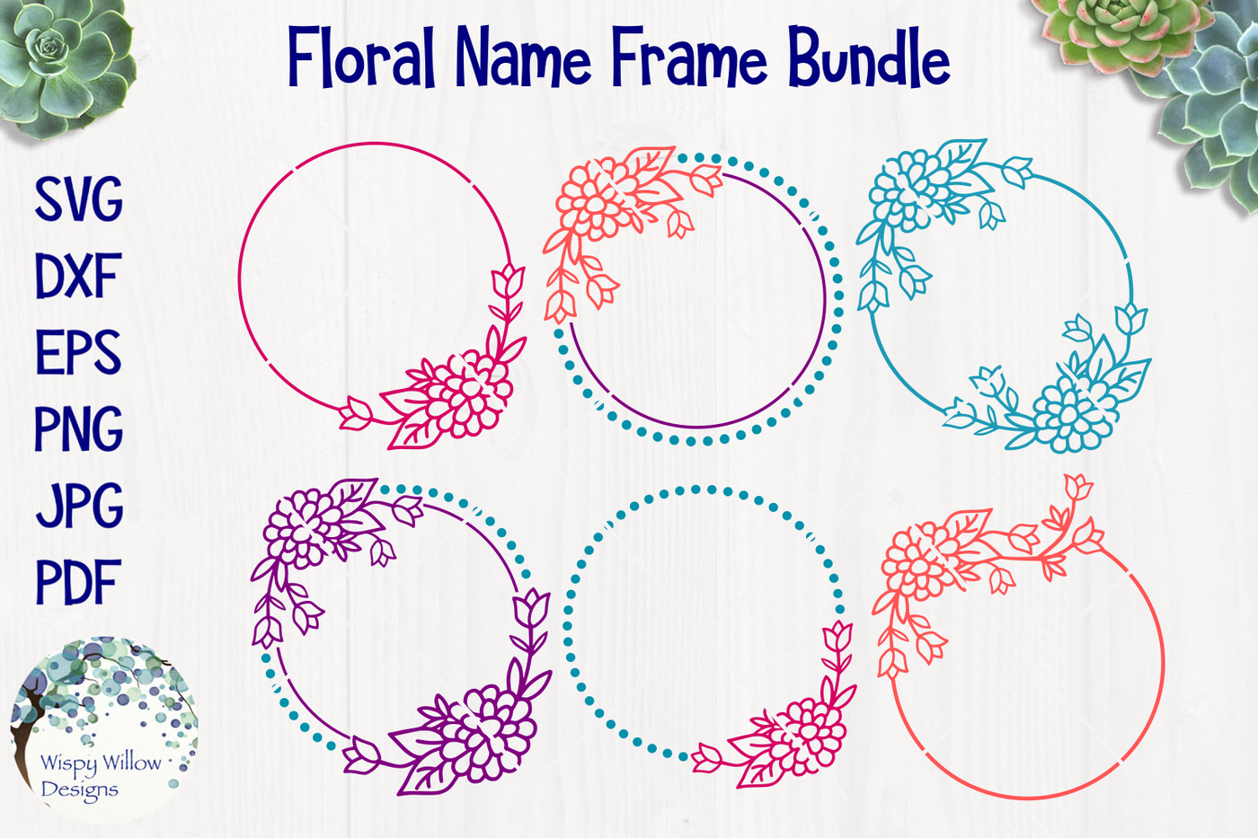 Floral Name Frame Bundle By Wispy Willow Designs Thehungryjpeg Com