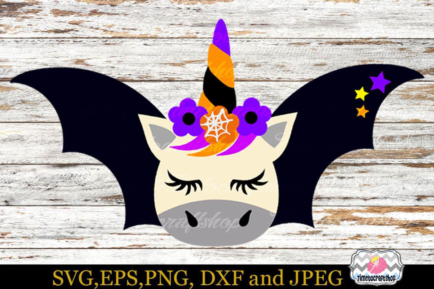 Halloween Unicorn Bat By Timetocraftshop Thehungryjpeg Com
