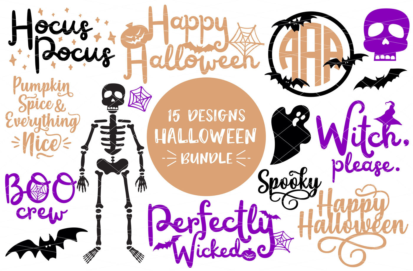 15 Halloween Designs Bundle Svg Dxf Png By Svgbundlesco