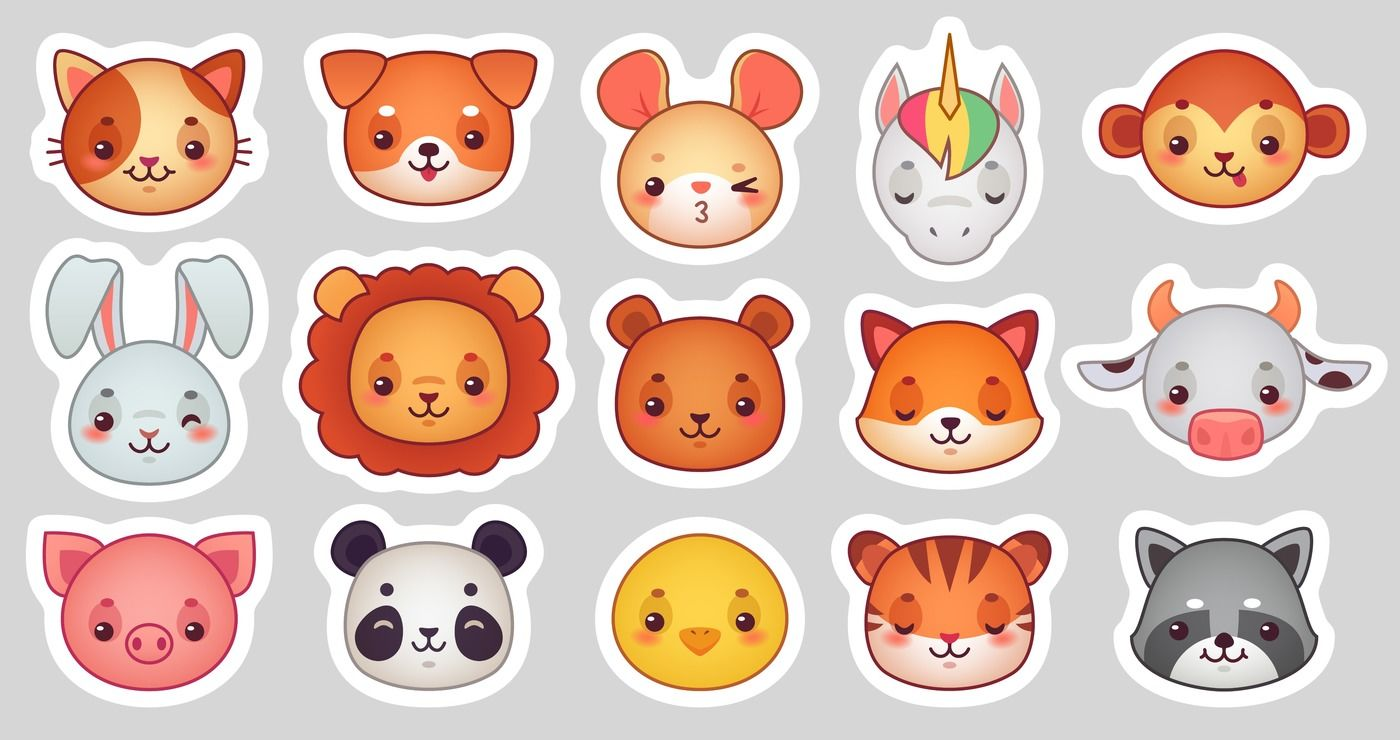 Animals Face Stickers Cute Animal Faces Kawaii Funny Emoji