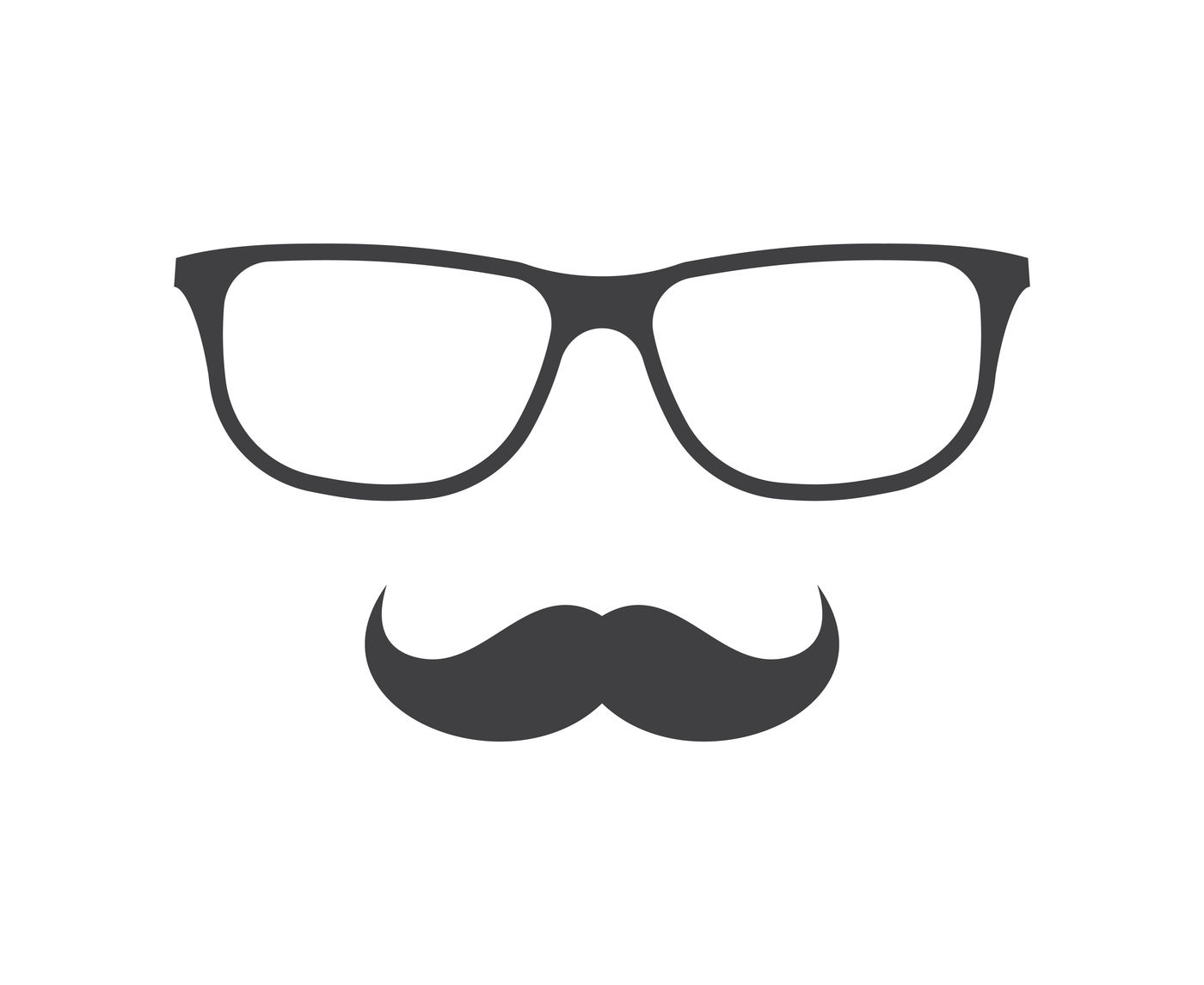 Vector Glasses And Mustache Icon In Black Over White By