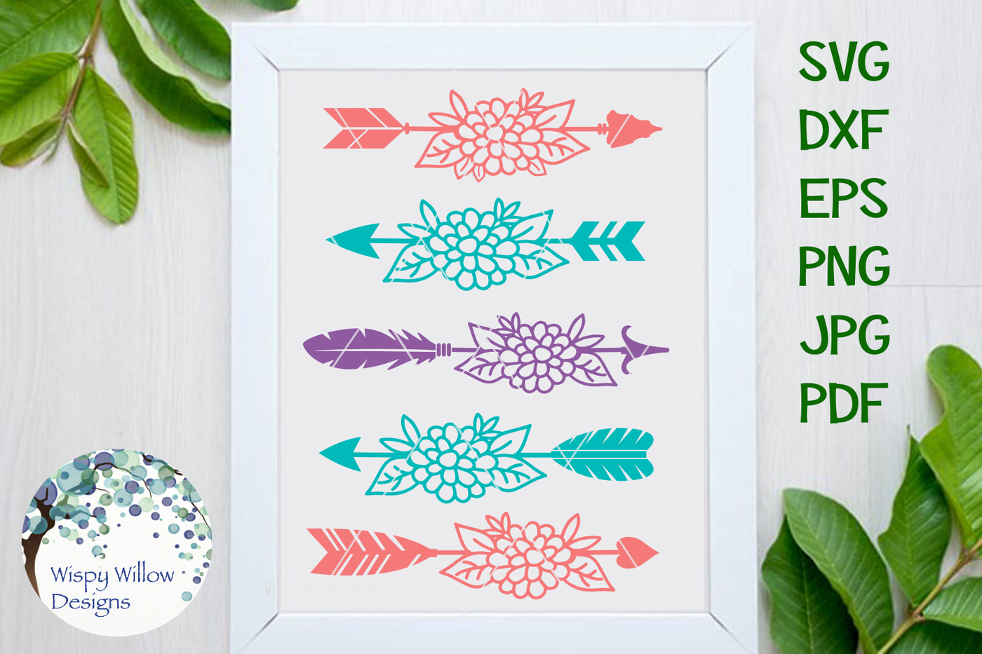 Floral Arrow Bundle By Wispy Willow Designs Thehungryjpeg Com