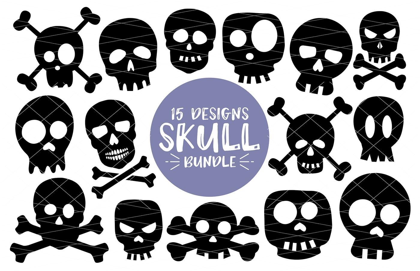 Halloween Skull Bundle 15 Designs Svg Dxf Png By Svgbundlesco Thehungryjpeg Com