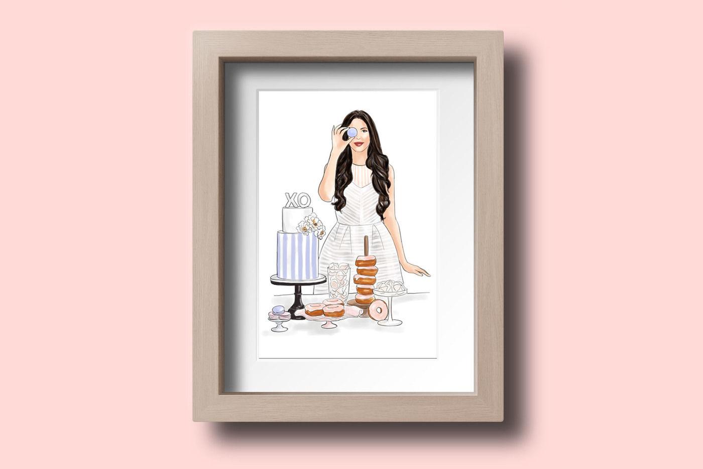 Watercolor Fashion Illustration Baker Girl Light Skin By