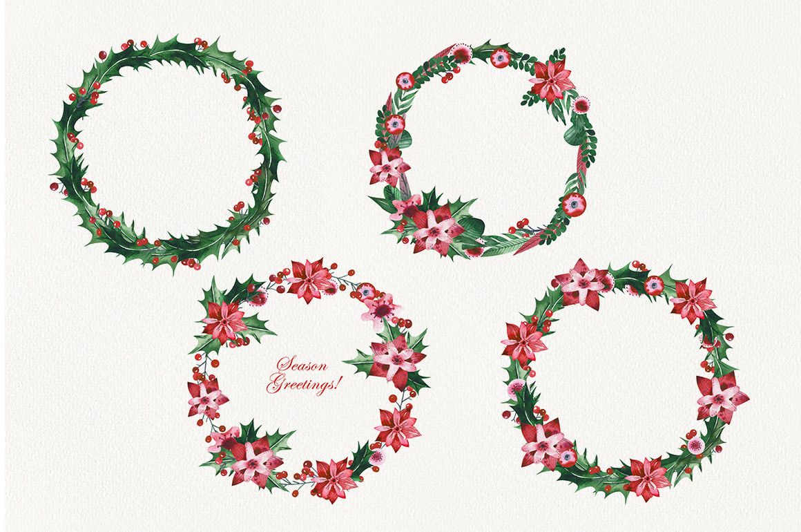 Watercolor Christmas Holly Set By Olga Koelsch Thehungryjpeg Com