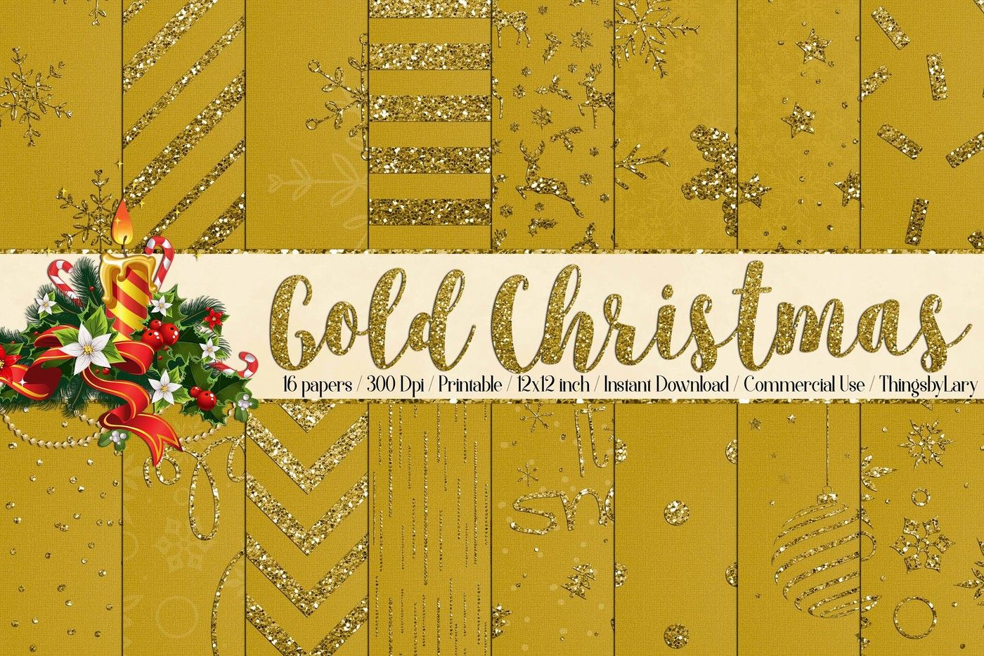 16 Gold Glitter Christmas Printable Digital Papers 12 Inch By