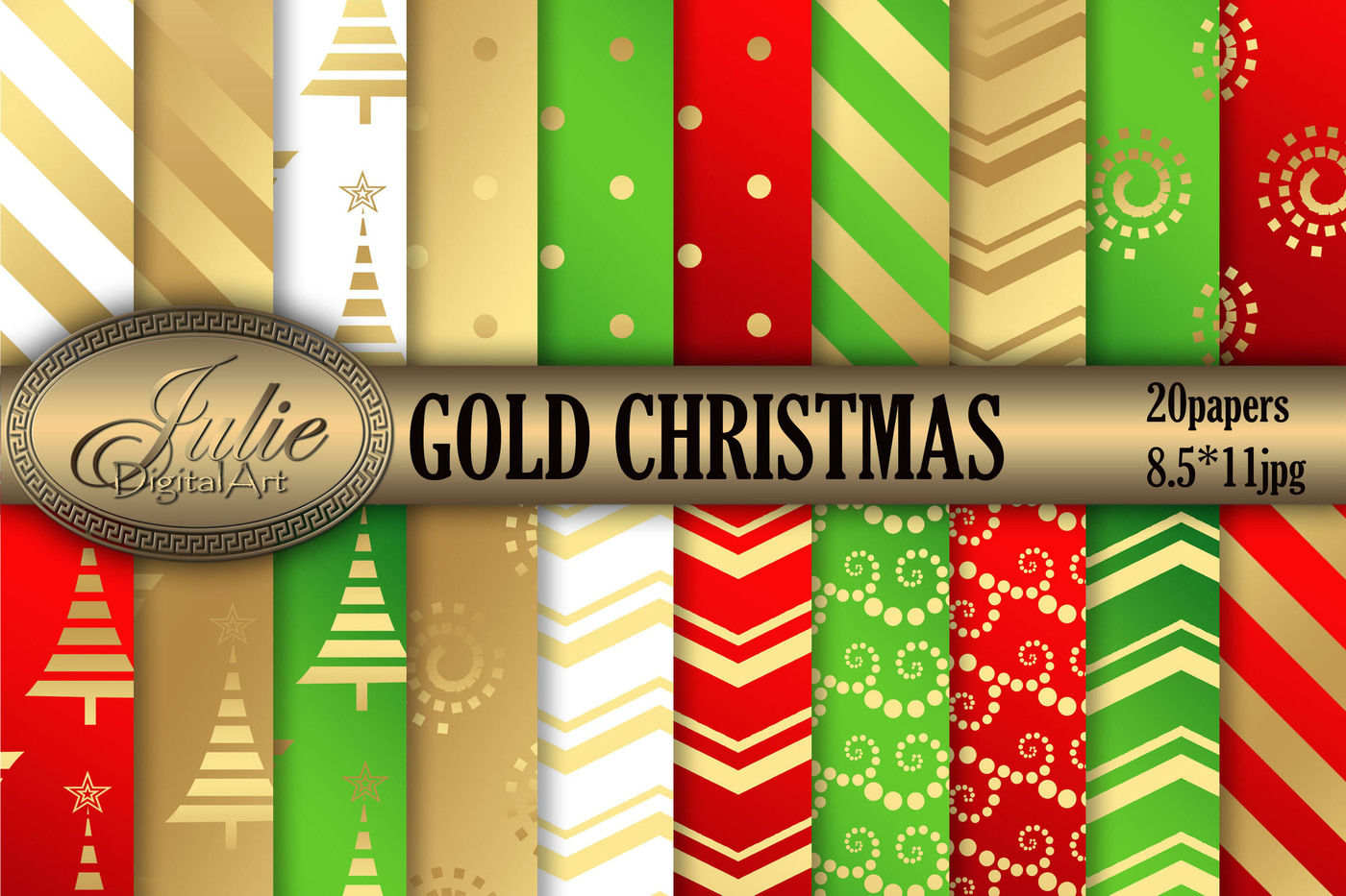 Gold Christmas Background 8 5 X 11 Metallic Digital Paper By