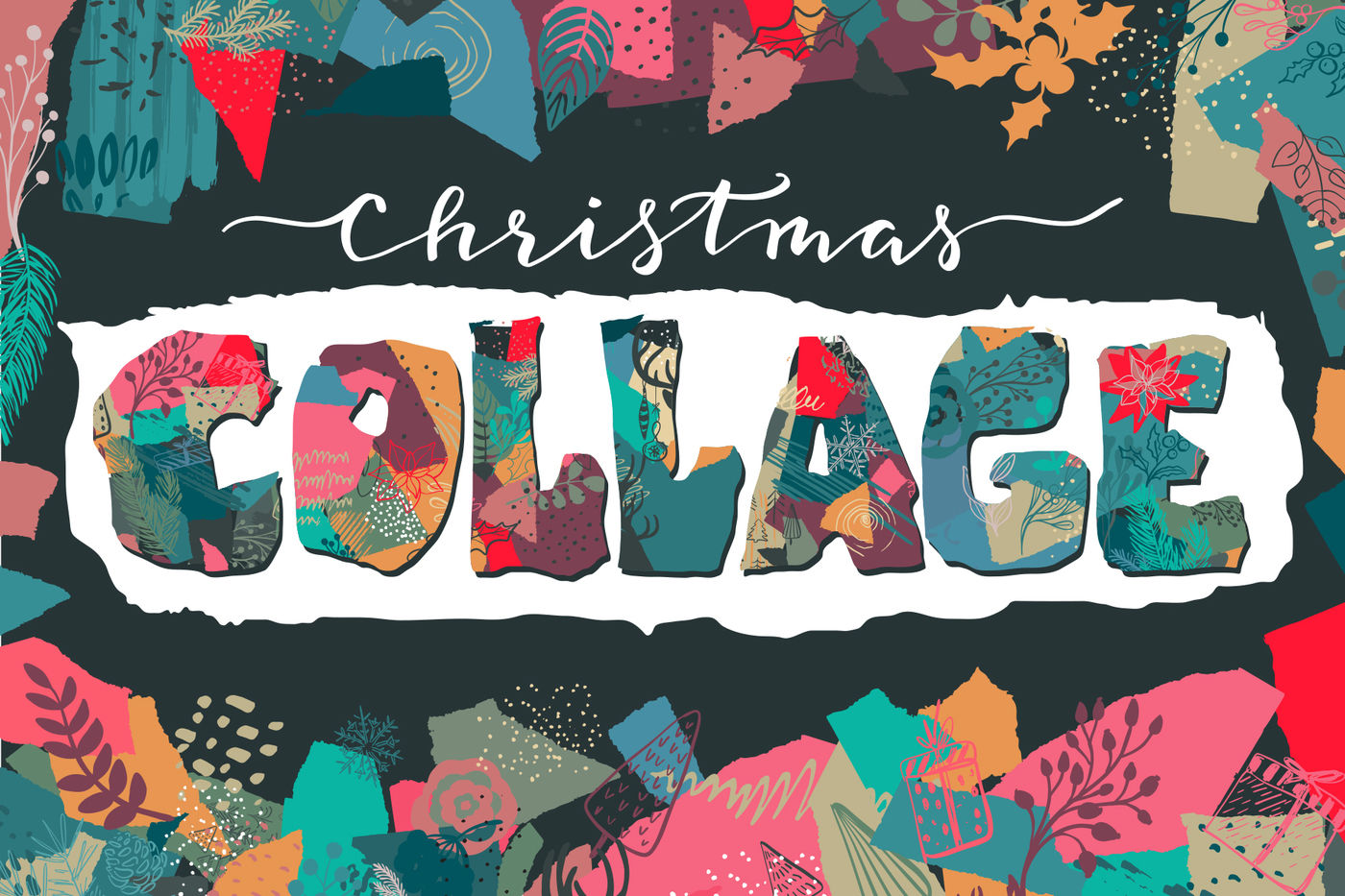 Christmas Collage Vector Set By Fancy Art Thehungryjpeg Com