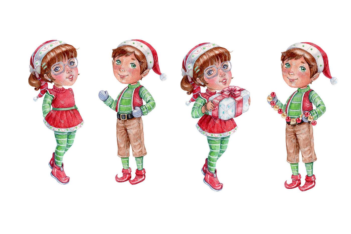 Santa S Little Helpers Watercolor Clipart By Krisdreams