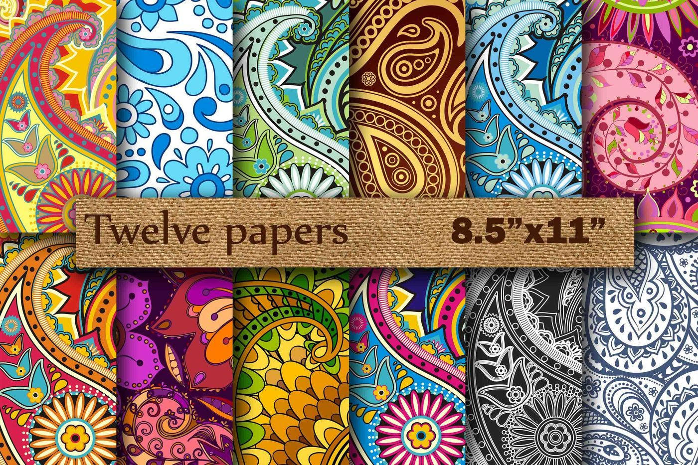 Paisley Digital 8 5 By Twelvepapers Thehungryjpeg Com
