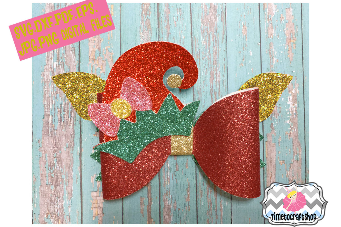 Christmas Hair Bow Template.Holiday Christmas Hair Bow Template Bundle By