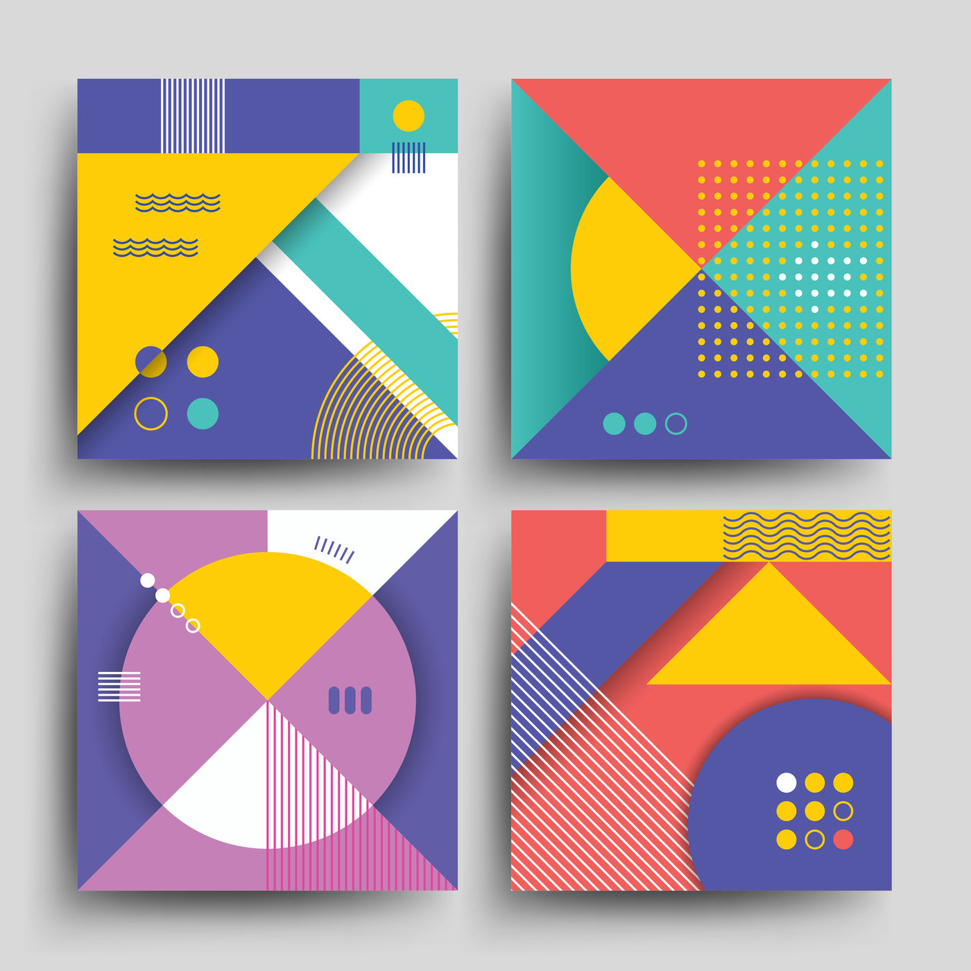 Retro Patterns With Abstract Simple Geometric Shapes Vector