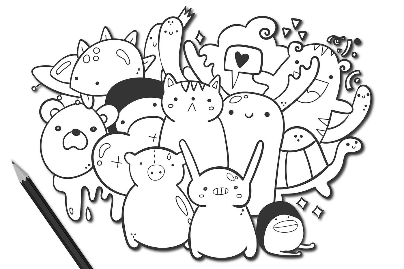 Doodle Coloring Pages By Twisted Tail Thehungryjpeg Com