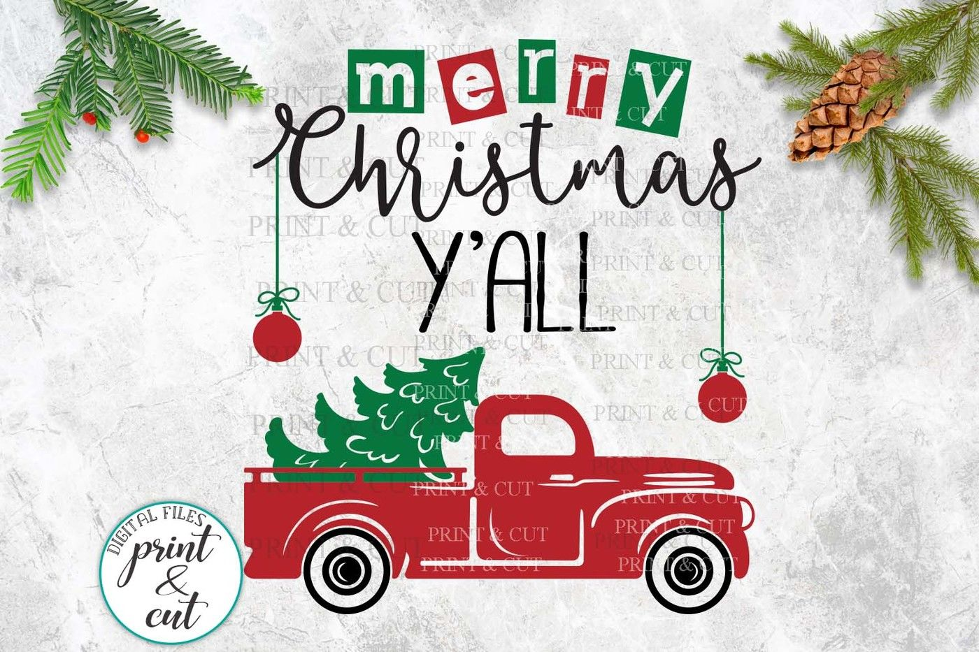 Merry Christmas Y All Truck Svg Dxf Files For Vinyl Htv Cut By Kartcreation Thehungryjpeg Com
