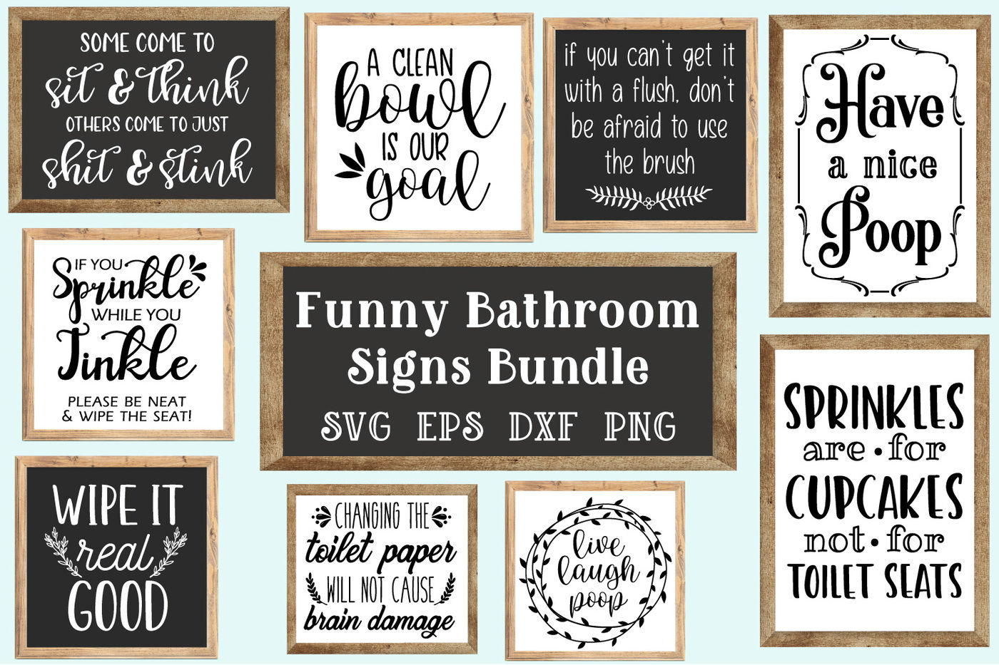 Bathroom Signs Bundle Svg Eps Dxf Png By Craft Pixel Perfect