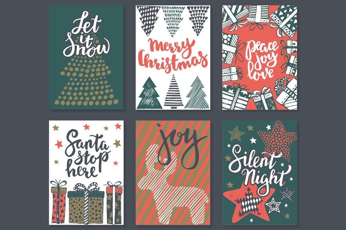 Vector Christmas Cards Set By Fancy Art Thehungryjpeg Com