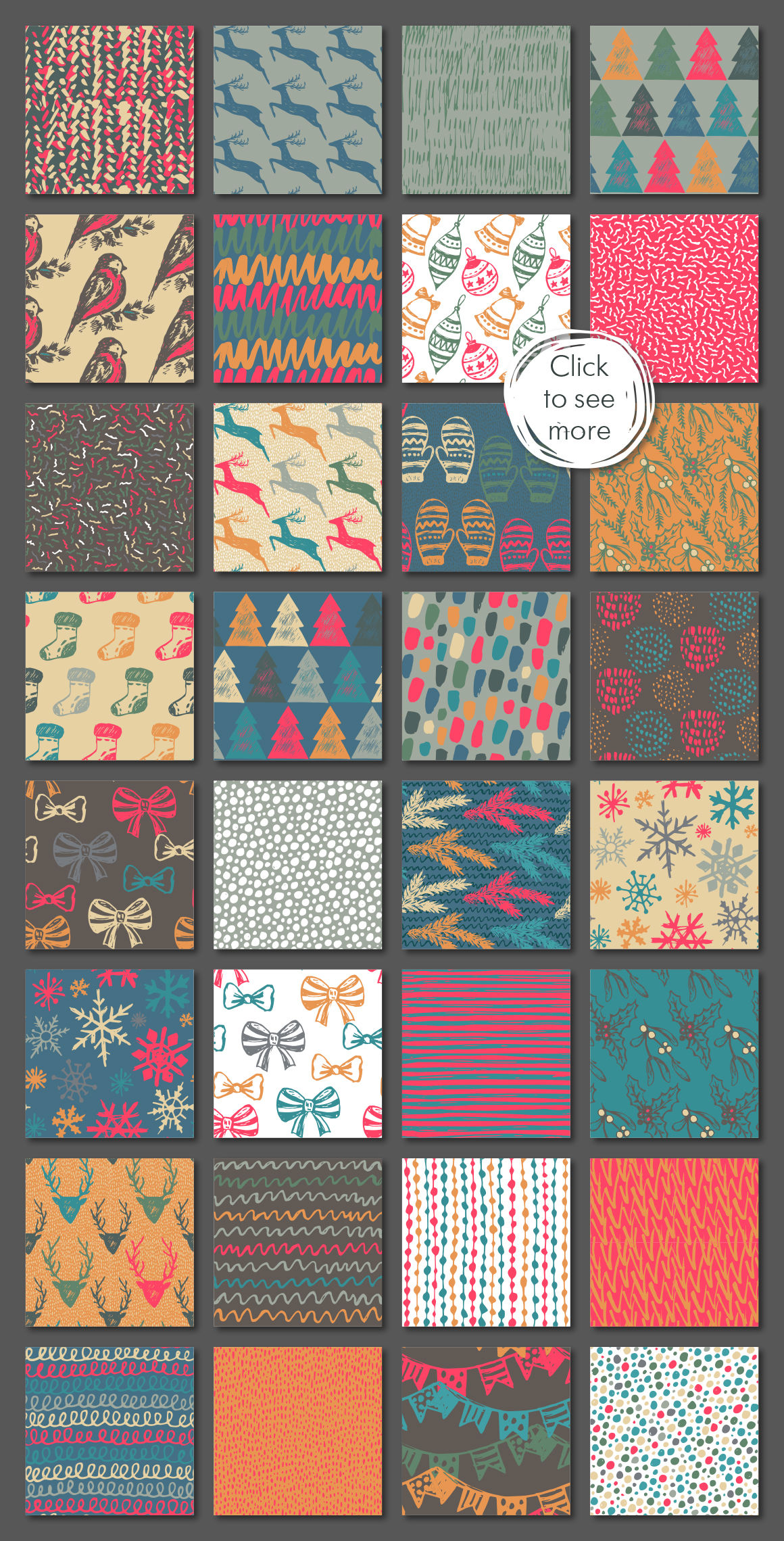 Christmas Cards Seamless Patterns By Fancy Art Thehungryjpeg Com