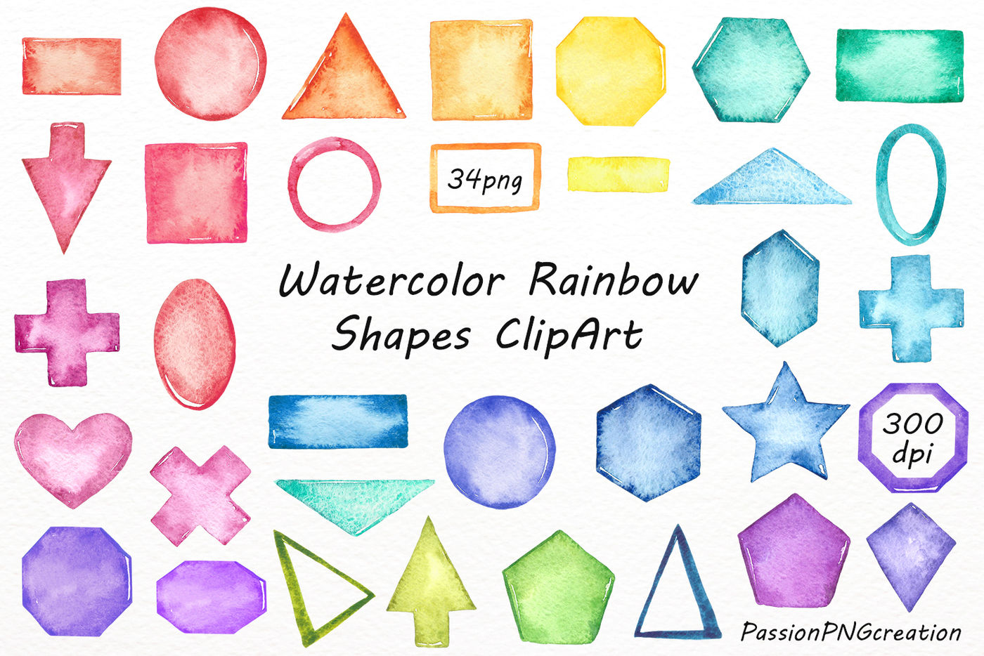 Watercolor Rainbow Shapes Clipart By Passionpngcreation