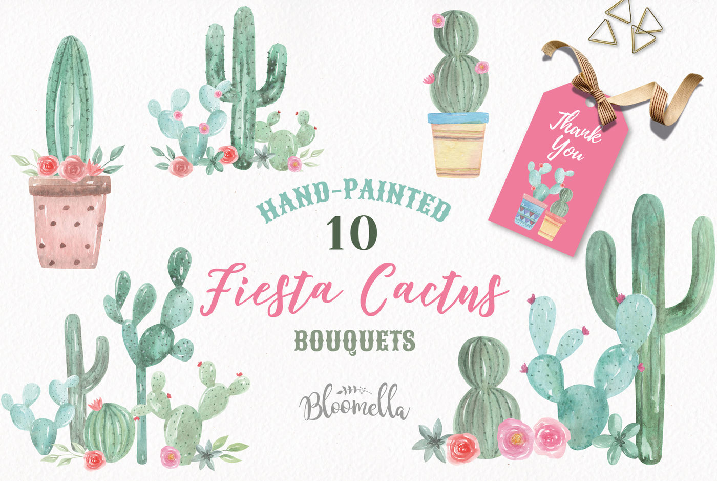 Cactus Watercolor Clipart Pots Floral Cacti Succulents Painted By Bloomella Thehungryjpeg Com