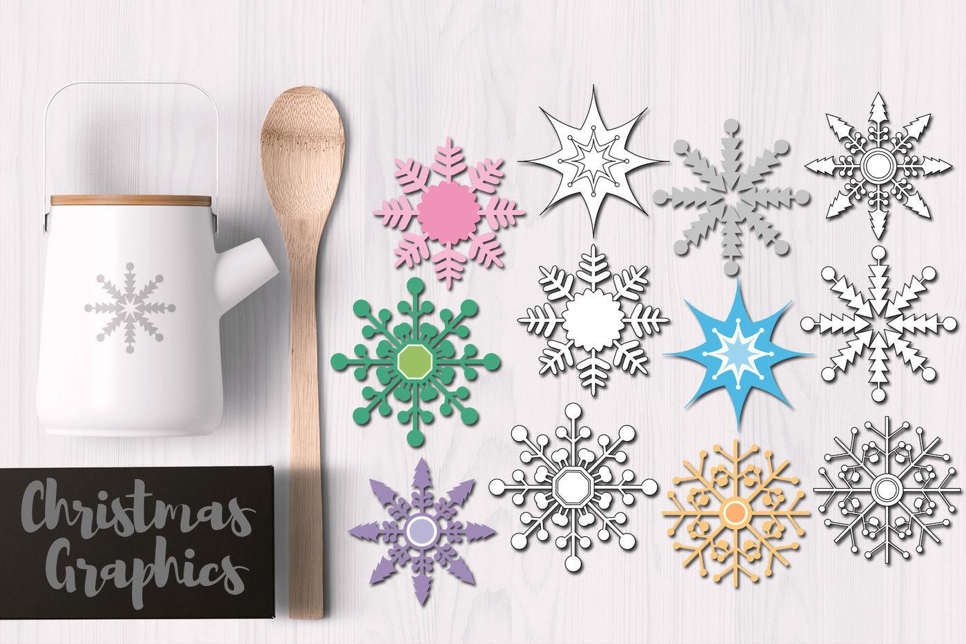 Snowflakes Pastel Colors By Blessedgrafik Thehungryjpeg Com