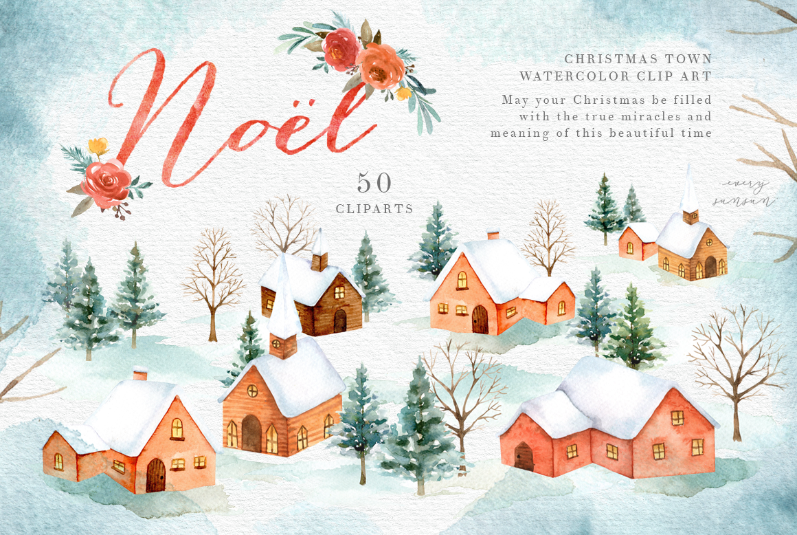 Noel Christmas Town Watercolor Set By Everysunsun Thehungryjpeg Com