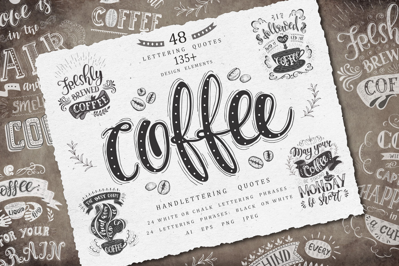 Coffee Handlettering Quotes By Designwork Thehungryjpeg Com