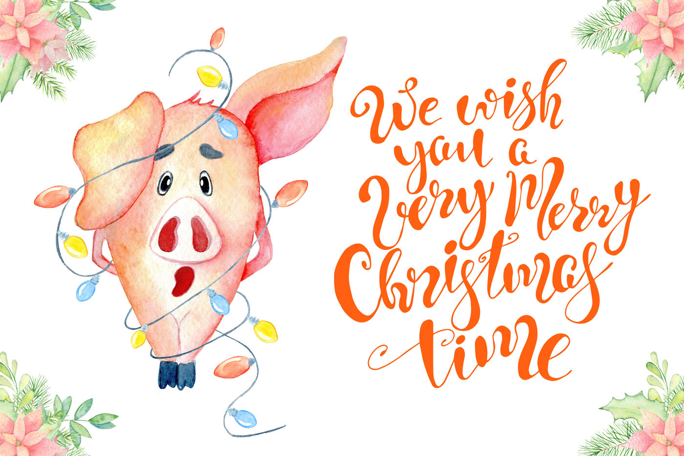 Christmas Cute Pigs Collection By Evgeniiasart Thehungryjpeg Com
