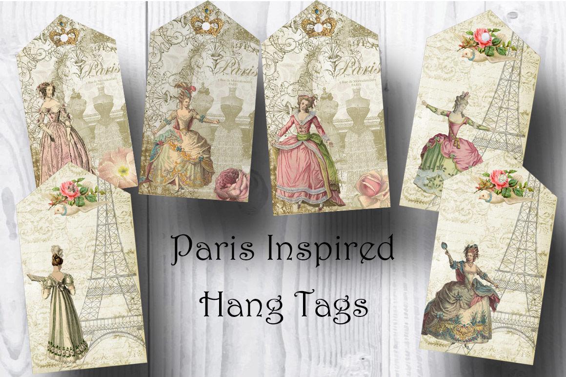 Paris Inspired Victorian Ladies Hang Tags By Black Crow Digital