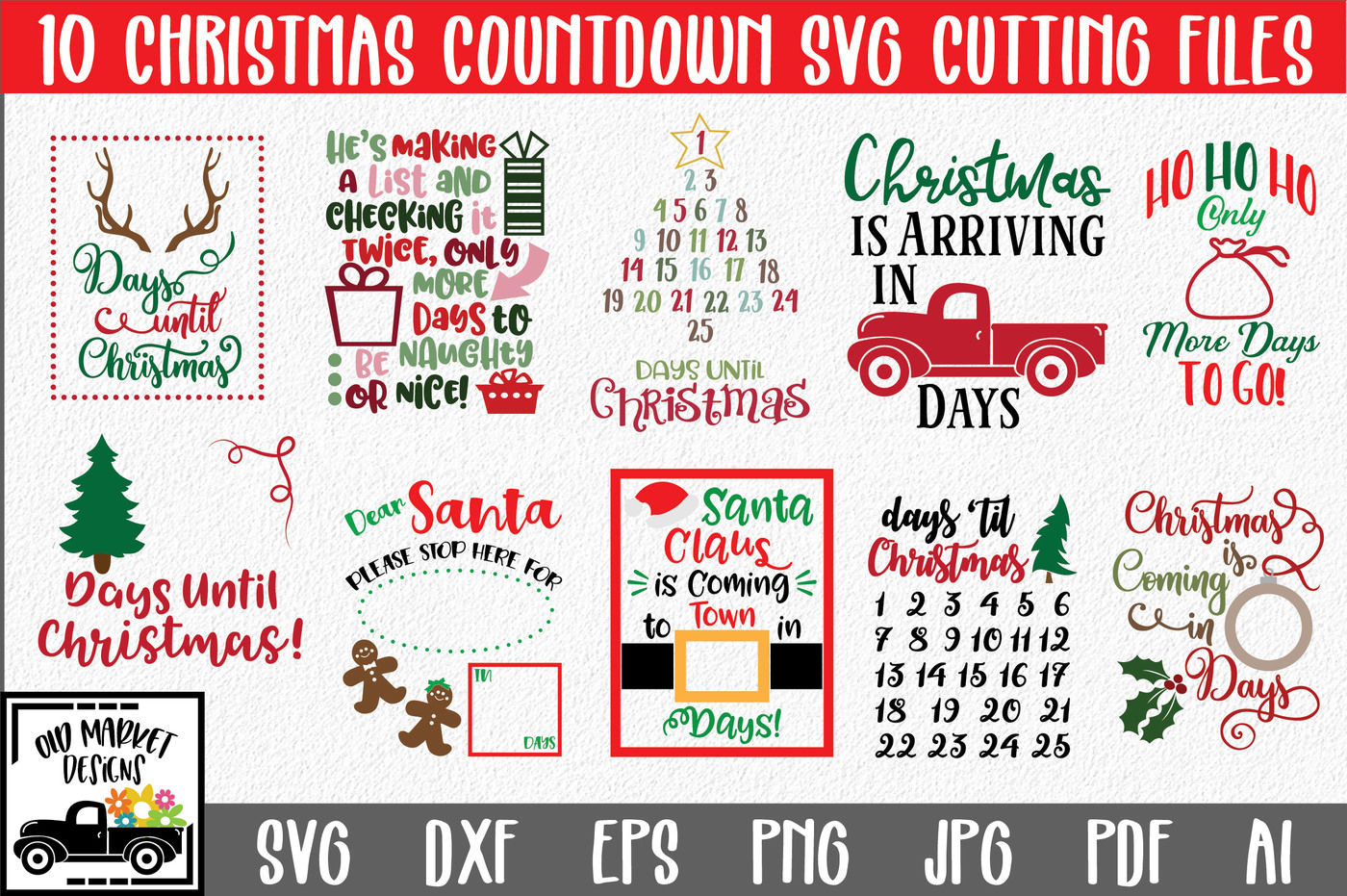 Christmas Svg Bundle With 10 Christmas Countdown Cut Files By