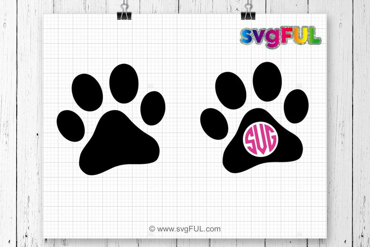 Paw Prints Monogram Svg: Dog Paw Svg, Monogram, Paw Print, Dog Lover Gift, Dog Mom
