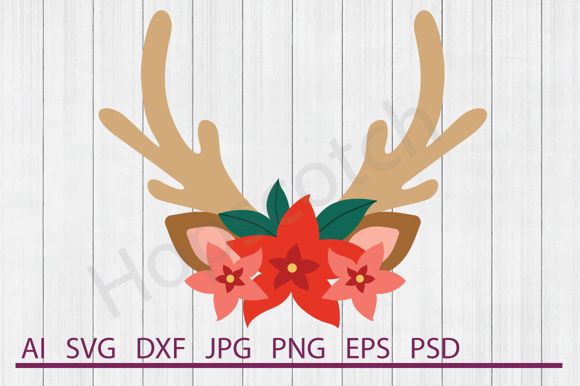 Reindeer Flowers Svg Reindeer Flowers Dxf Cuttable File By