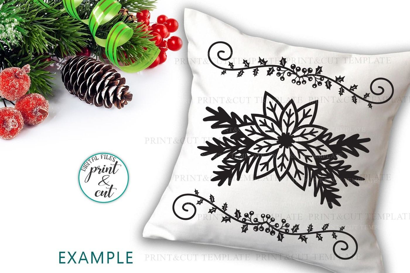 Poinsettia Christmas Border Swirls Decorations Paper Cut Svg By