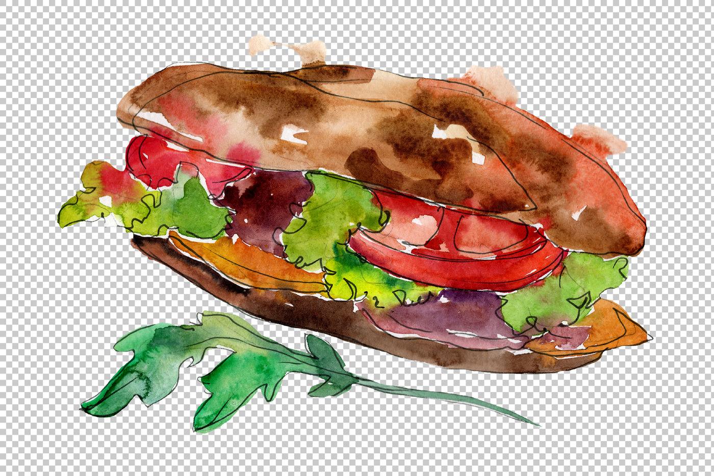 Tasty Sandwich Png Watercolor Set By Mystocks Thehungryjpeg Com