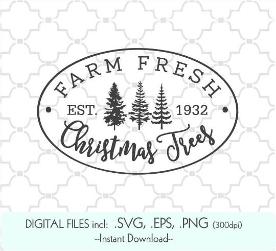 Farm Fresh Christmas Trees Svg.Farm Fresh Christmas Trees By Buzzcutz Designs