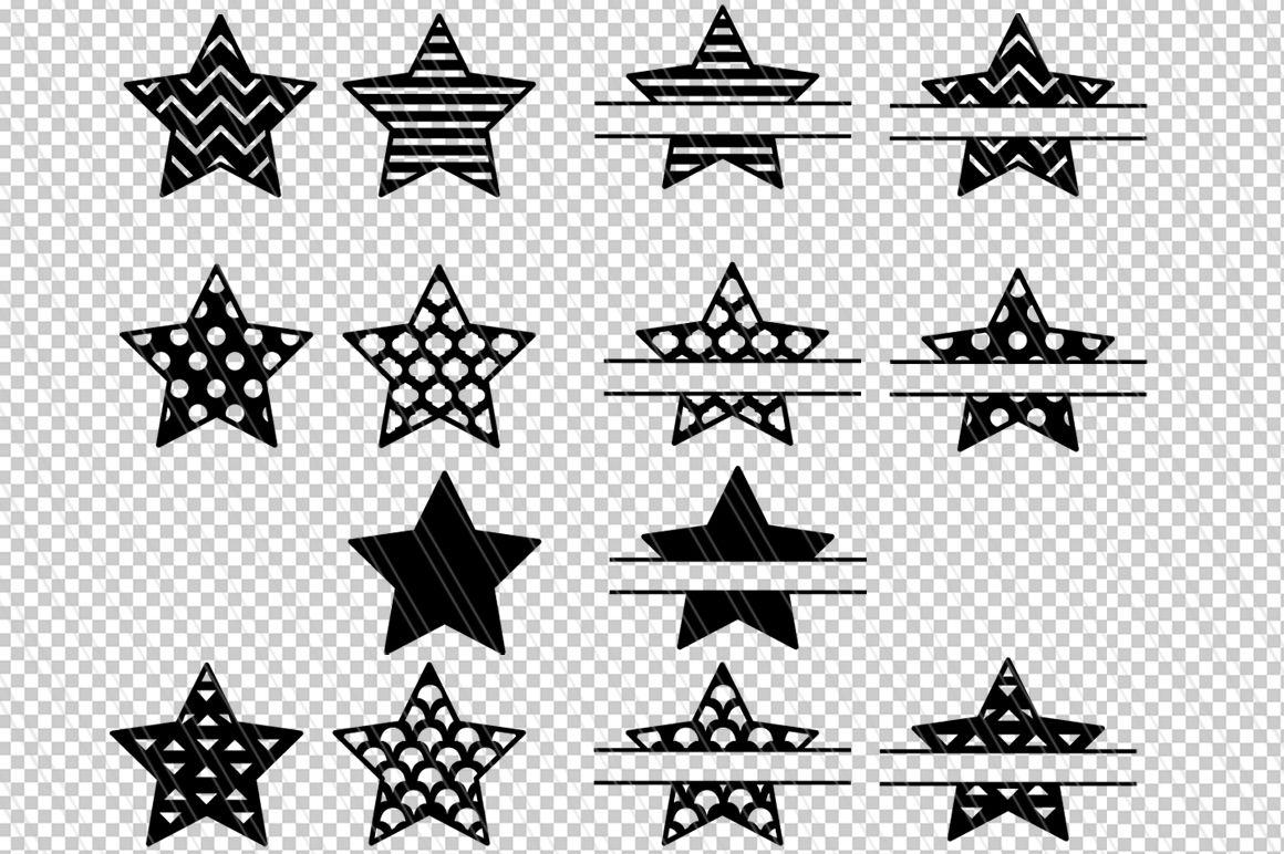 Star Svg Star Clipart Patterned Star Svg Split Monogram Svg Dxf