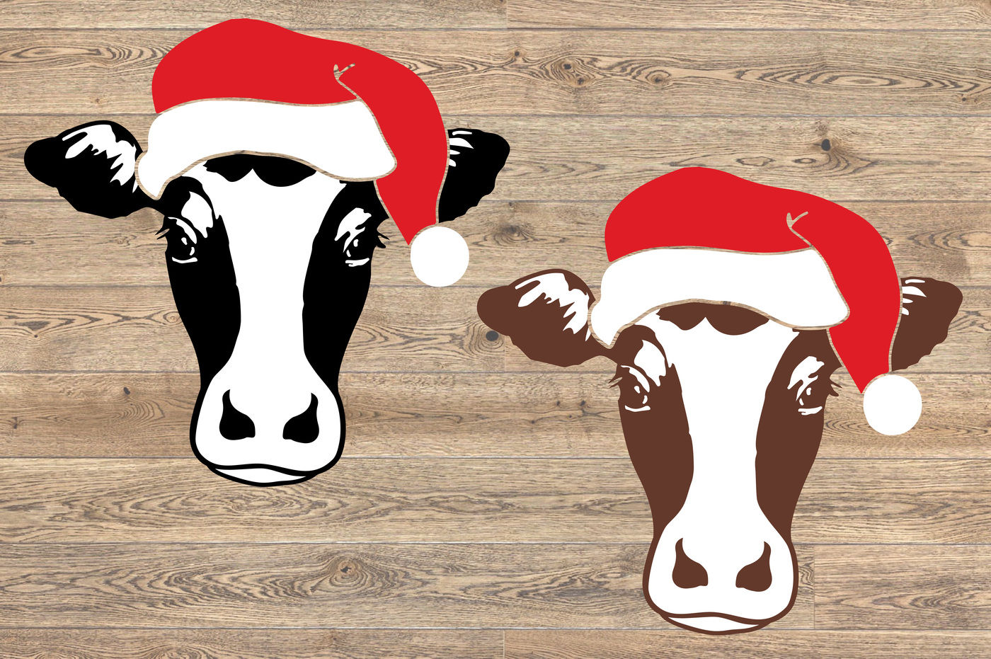Cow Christmas Hat Silhouette Svg Cutting Files Farm Santa Claus