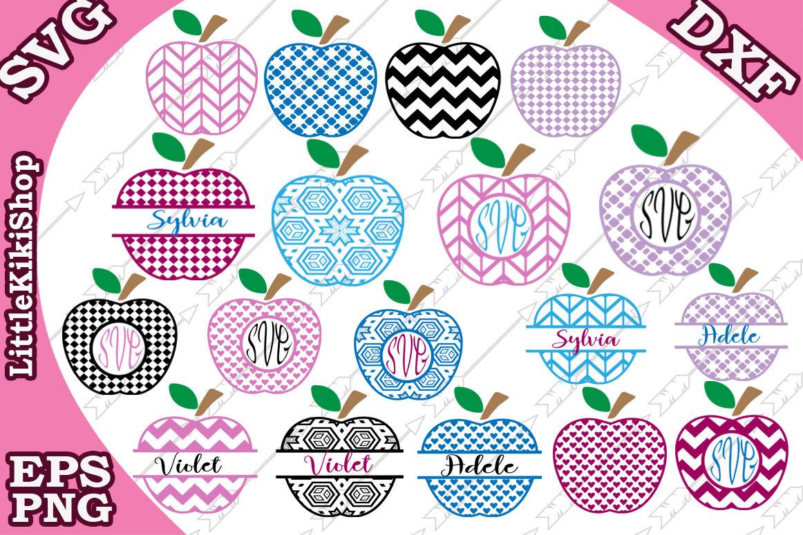 Apple Monogram Frames Svg Apple Bundle Svg Teacher Svg By