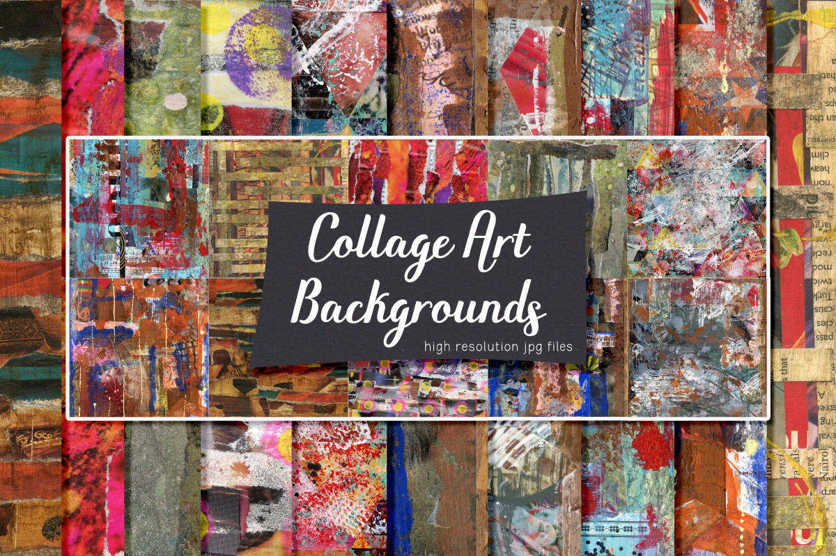 Collage Art Backgrounds By Heather Green Designs Thehungryjpeg Com