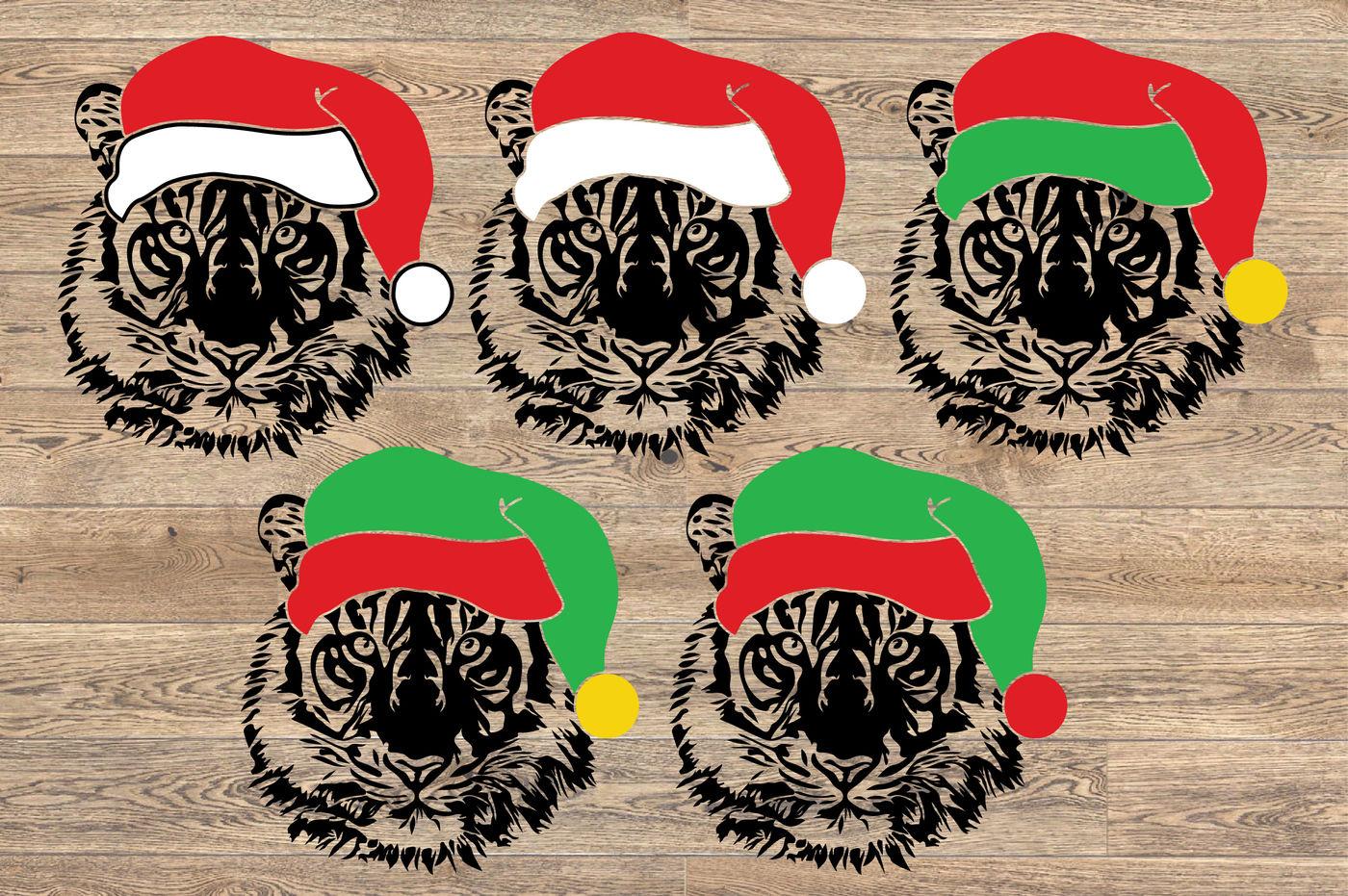 Tiger Whit Christmas Hat Svg Wild Animal Santa Hat Football 1083s