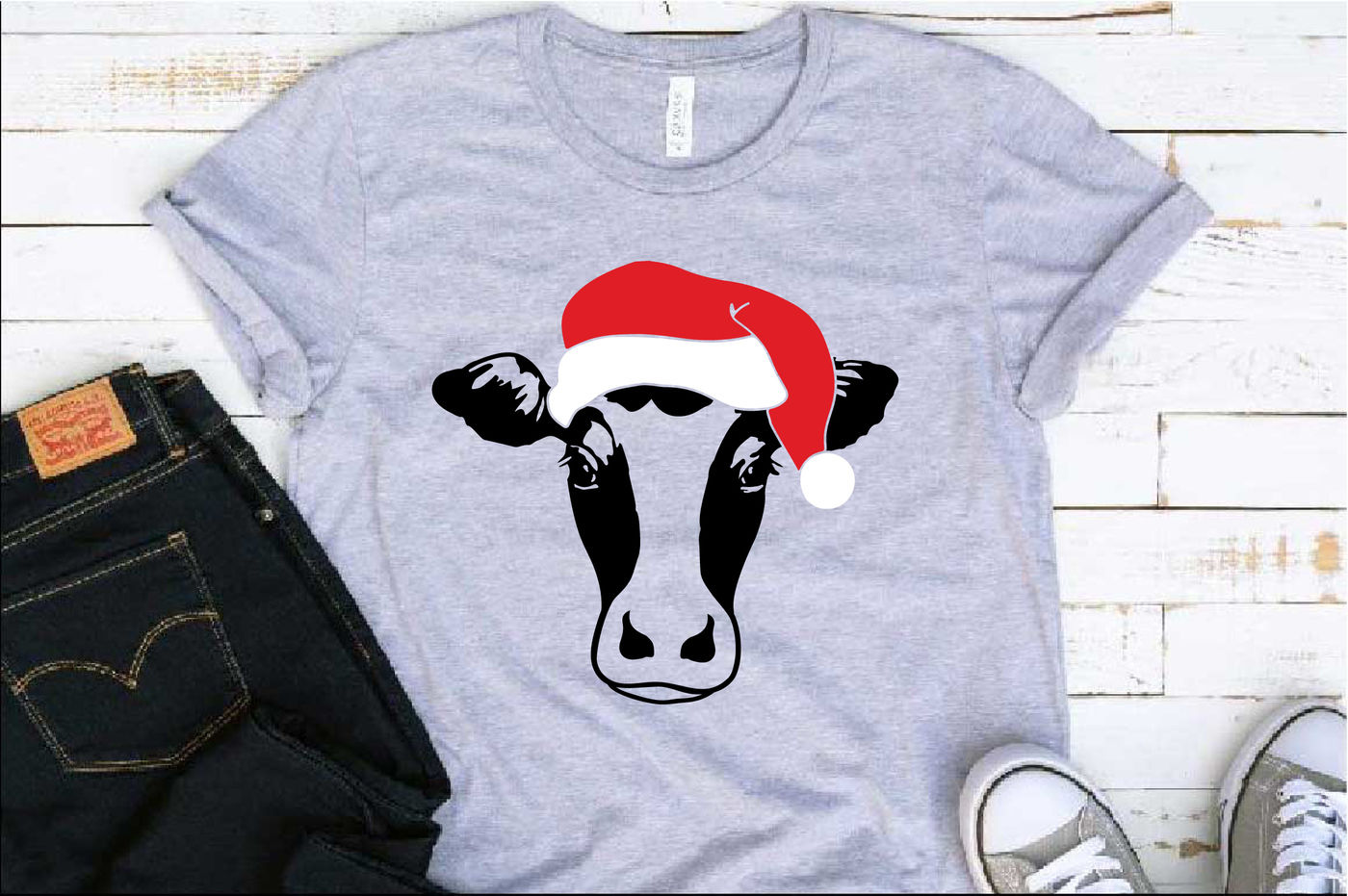 Cow Whit Christmas Hat Svg Farm Heifer Santa Claus Props 1087s By