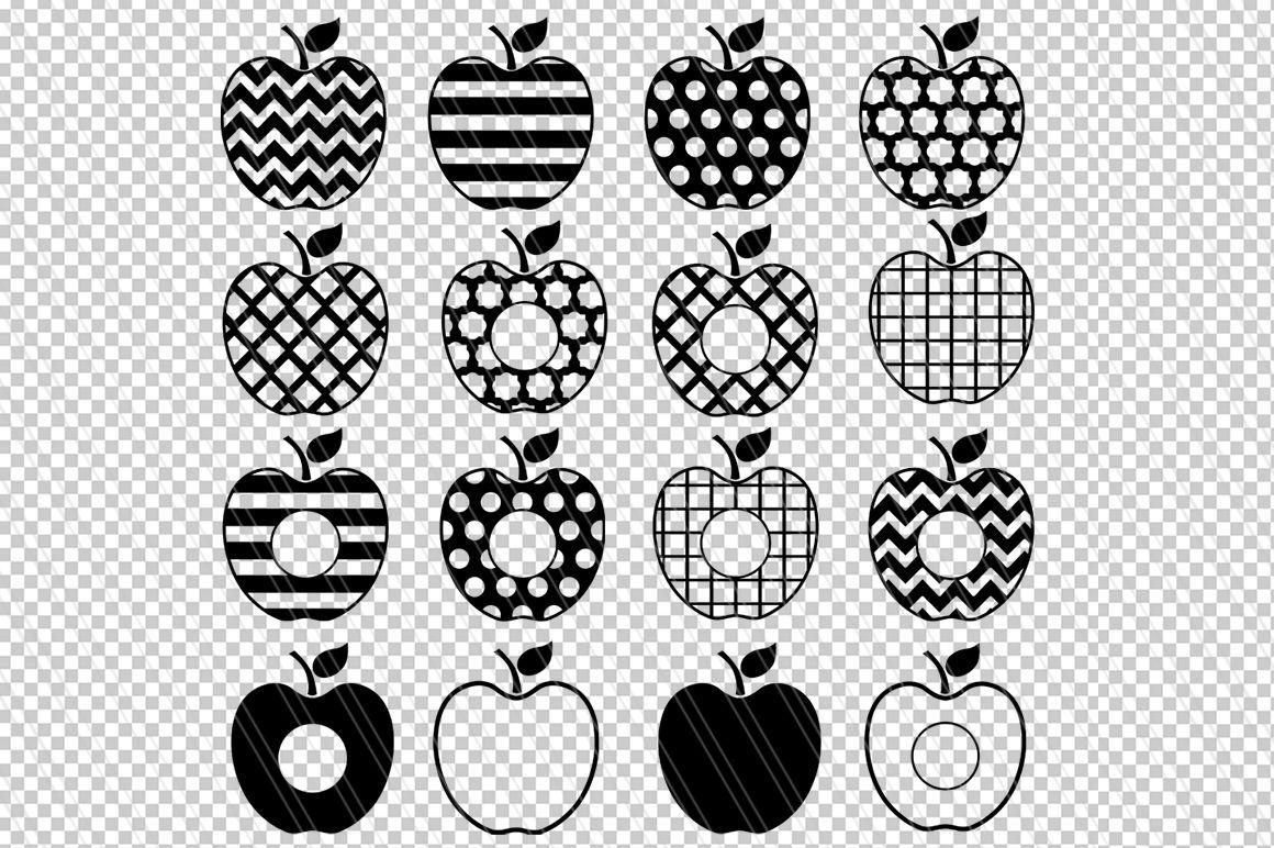 Apple Svg Dxf Clipart Teacher Svg Monogram Cutting Files By
