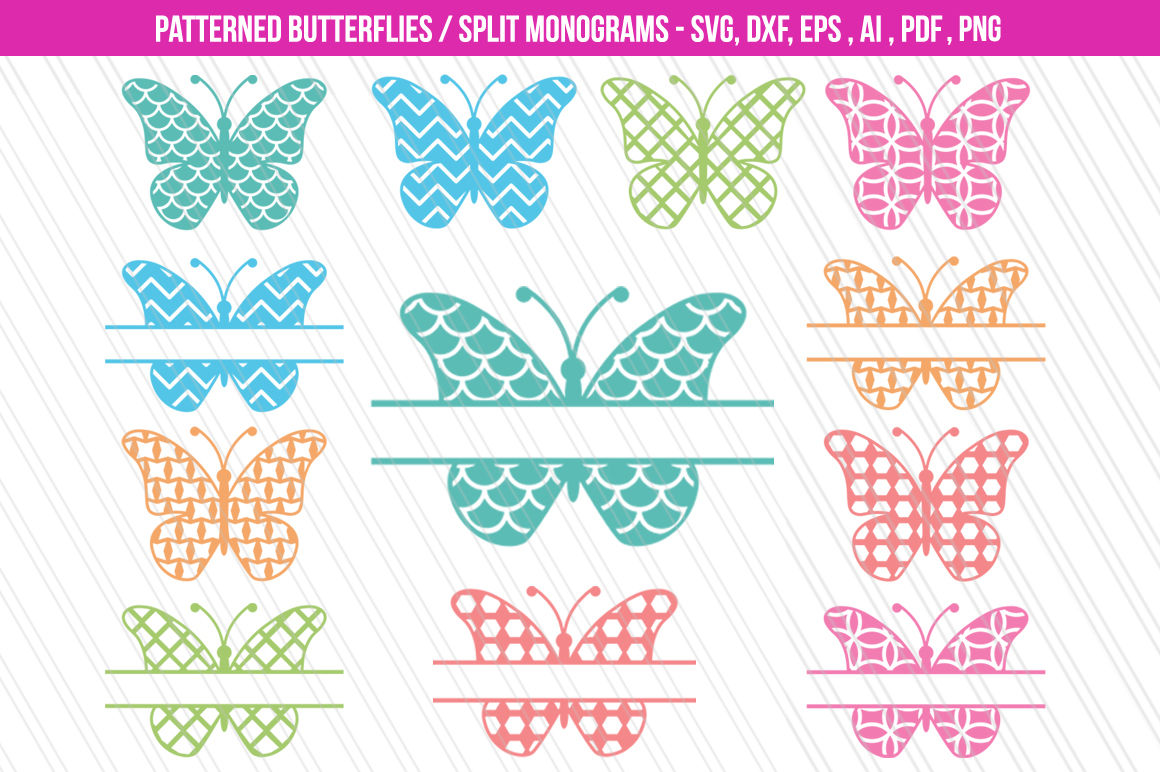 Butterfly Svg Dxf Cutting Files Patterned Butterflies Clipart By
