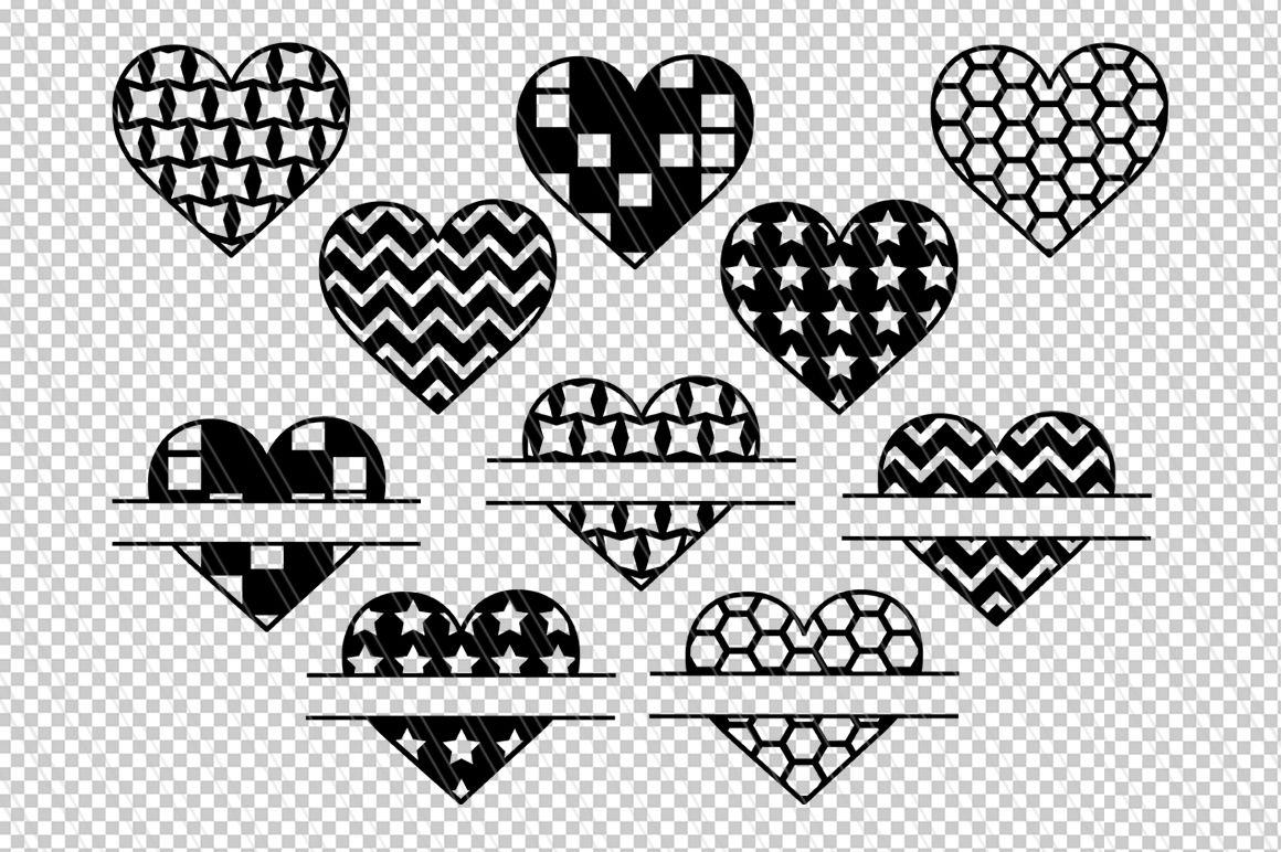 Valentine Svg Hearts Svg Dxf Heart Split Monogram Svg By