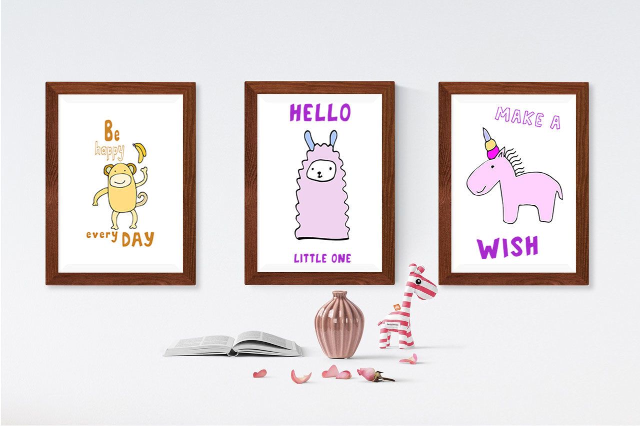 Kids Room Typeface With Outline And Solid Versions And Extra